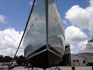 monthly maintenance boat waxing at boatyard